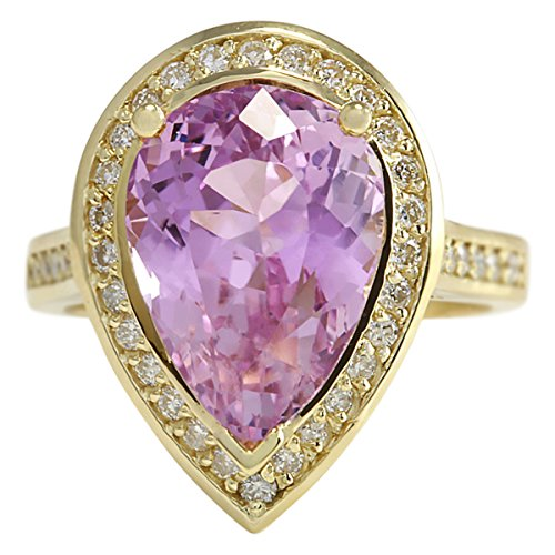 8.71 Carat Natural Pink Kunzite and Diamond (F-G Color, VS1-VS2 Clarity) 14K Yellow Gold Cocktail Ring for Women Exclusively Handcrafted in USA