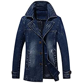 chouyatou Men's Classic Notched Collar Single Breasted Rugged Wear Lined Denim Trucker Jacket