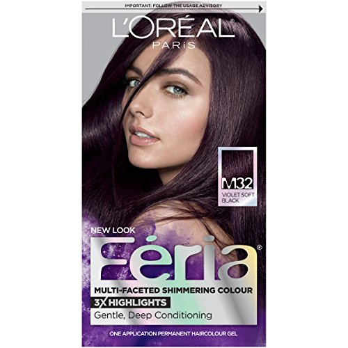 (L'Oréal Paris Feria Multi-Faceted Shimmering Permanent Hair Color, M32 Midnight Star (Violet Soft Black), 1 kit Hair Dye)