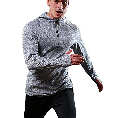 Sweat Jogging Séchage Running Hommes shirt À Vêtements Chaud Felicon shirt Bottom Hellgrau Rapide Manches Longues Capuche Zipper Pour T Sportswear Tops vqxO8w6x