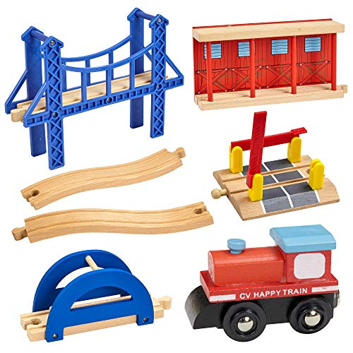 Dragon Drew Wooden Train Accessory Set - Includes Train Car, Station Platform, Raised Bridge and Tracks and Railroad Crossroad - Compatible with Brio, Thomas, Chuggington and All Major Brands ()
