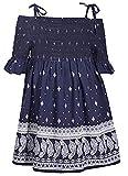Bonnie Jean Blue Halter Style Paisley Print Dress with Tie Shoulder Straps, 2T
