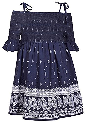 Bonnie Jean Blue Halter Style Paisley Print Dress with Tie Shoulder Straps, 6 Bonnie Jean Bodice Jeans