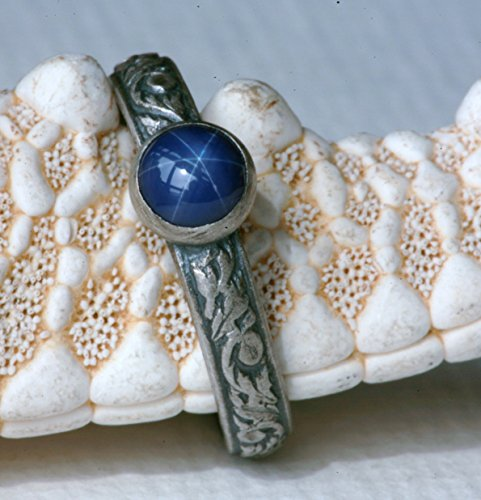 Blue-Star-Sapphire-and-Sterling-Silver-Ring-on-Vine-Pattern-Band-Lab-Created