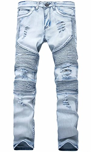 999 Motorcycle - HENGAO Men's Ripped Destroyed Distressed Slim fit Stretch Biker Jeans, 999-33 Light Blue, W38
