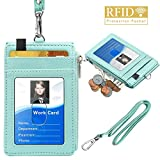 ELV Badge Holder with Zipper, PU Leather ID Badge Card Holder Wallet with 5 Card Slots, 1 Side RFID Blocking Pocket and 20 inch Neck Lanyard Strap for Offices ID, School ID, Driver Licence (Mint)