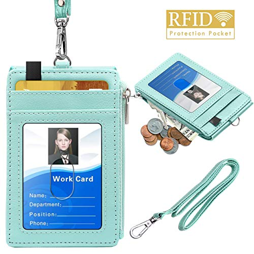 ELV Badge Holder with Zipper, PU Leather ID Badge Card Holder Wallet with 5 Card Slots, 1 Side RFID Blocking Pocket and 20