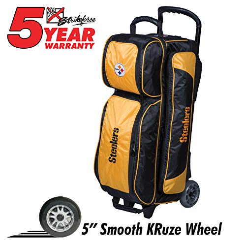KR Strikeforce Bowling Bags Pittsburgh Steelers 3 Ball Roller Bowling Bag, Yellow/Black
