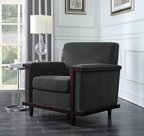 Iconic Home FAC2691-AN Norwell Retro Wood Herringbone Chenille Modern Trim Detailed Club Grey, Accent Chair, CHARCOAL Grey