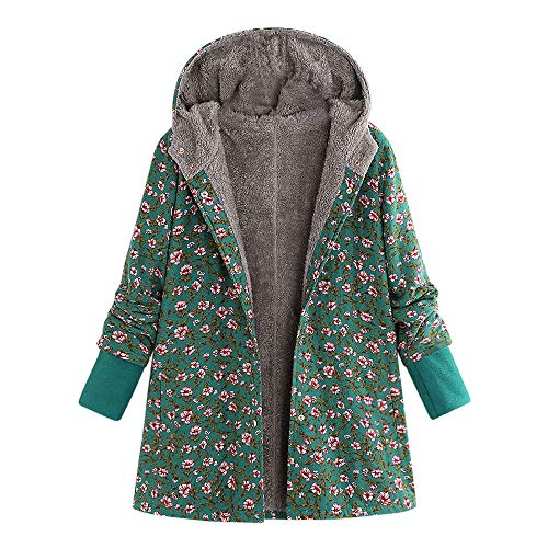 Wobuoke Women Winter Vintage National Wind Print Fleece Thick Hasp Coats Plus Size Hooded Outwear