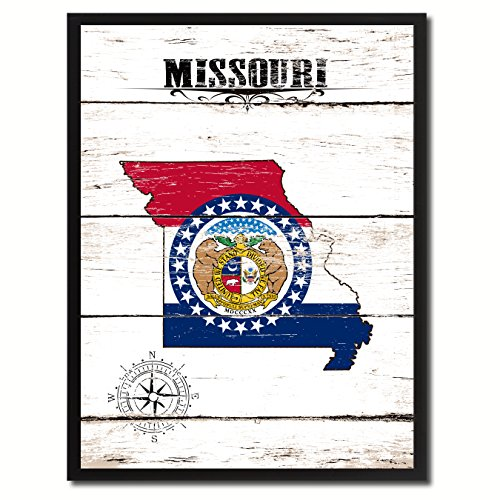 Missouri State Vintage Flag Canvas Print Black Picture Frame Gift Ideas Home Decor Wall Art Decoration Gift Ideas