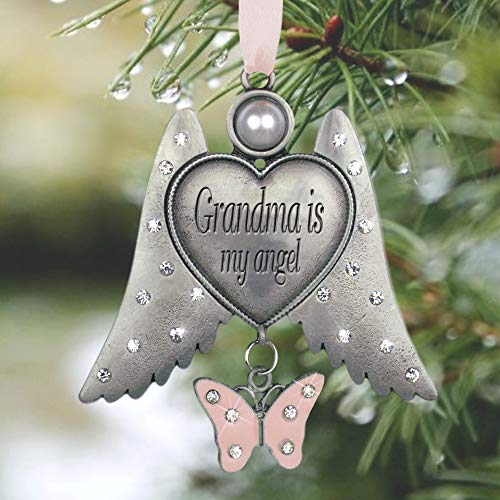 - BANBERRY DESIGNS Grandma Angel Ornament - Jeweled Angel Wings Hanging Ornament - Grandma is My Angel - Pink Butterfly Charm - 3