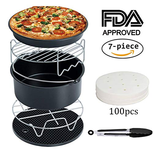 Mushroom Bacon Quiche - Air Fryer Accessories for Gowise Phillips Cozyna and Secura, Set of 7, Fit all Airfryer 3.7QT - 4.2QT - 5.3QT - 5.8QT