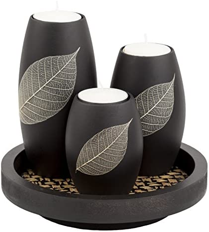 IYARA CRAFT Tealight Candle Holders with Candle Tray Set of 3 Decorative Candle Holders Matte Wood Finish with Dry Leaf Decoration