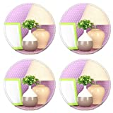 MSD Round Coasters Non-Slip Natural Rubber Desk Coasters design 19384759 Colorful photo lamp and flowers on wooden table on lilac polka dots