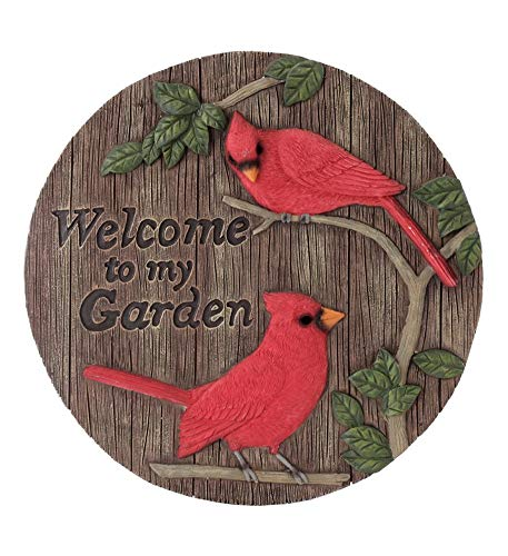 Napco Garden Cardinals Red and Brown 12 x 12 Resin Stone Decorative Stepping Stone