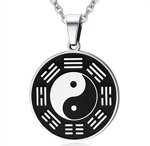 UNAPHYO Men's Stainless Steel Retro Round Amulet Pendant with Taiji Eight Diagrams Yin Yang Necklace, 20 Inches Chain (And Ying Yang)