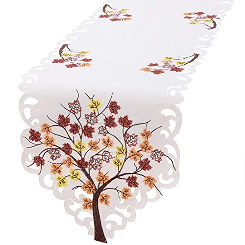 Embroidered Runner - Simhomsen Thanksgiving Holiday Table Runners, Embroidered Maple Tree Leaves 13 × 68 inch