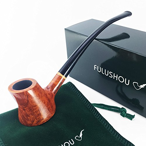 FULUSHOU Mediterranean Briar Wood Tobacco Pipe, Volcanic Freestyle Bend Tobacco Pipe