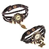 Fantastic Set of 2 Vintagte Style Ladies Women Wrist Watches With Plaited Braided Leather Straps Bands Bracelets In Black, Retro Beads And Bronze Leaf Butterfly Shaped Charms Pendants By VAGA®