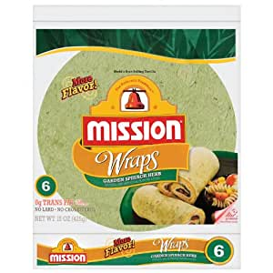 Mission, Garden Spinach Herb Wraps, 15oz Package (Pack of 4)
