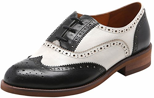 U-lite Black White-2 Perforated Lace-up Wingtip Leather Flat Oxfords Vintage Oxford Shoes Women 8