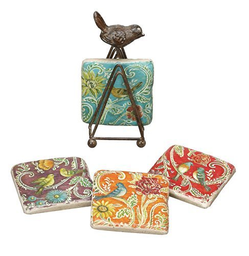 Creative Co-Op Kate McRostie DesignWorks resin Coaster Set with Tin Bird Stand By Creative Co-Op