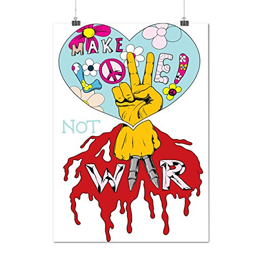 Peace Not War Vintage T-shirt (Make Love Not War Peace Life Matte/Glossy Poster A4 (9x12 inches) | Wellcoda)
