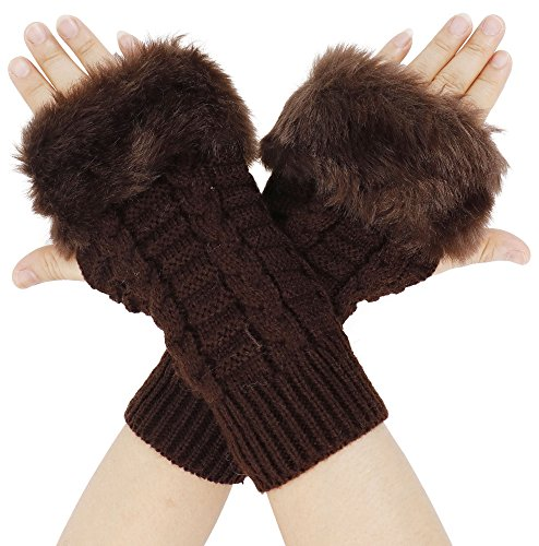 Simplicity Winter Warmer Faux Knitted Hand Wrist Fingerless Gloves, Coffee2