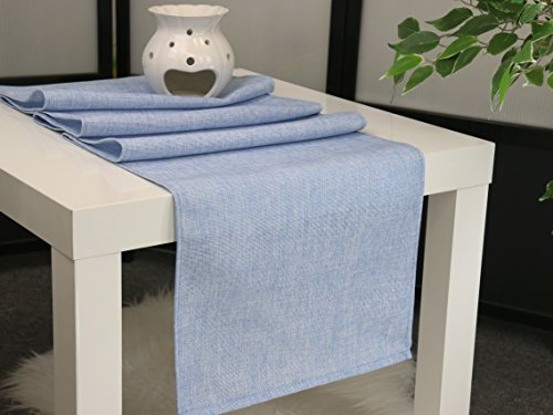 Aiking Home (Pack of 1) Natural Faux Linen Unlined Table Runner, Baby Blue-Size 12''x62'' -Ideal for Wedding, Baby Shower, Party Decor, Thanksgiving, Christmas or Special Event. -