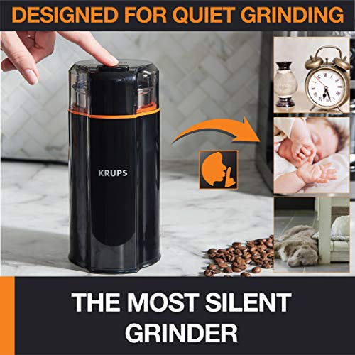 KRUPS GX332850 Silent Vortex Electric Grinder for Spice,Dry Herbs and Coffee, 12-Cups, Black