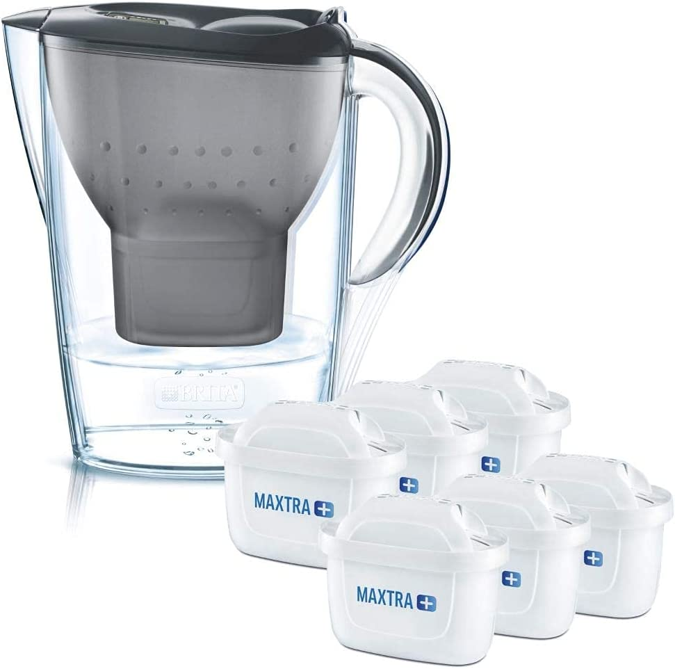 BRITA Marella fridge water filter jug for reduction of chlorine, limescale and impurities, Includes 6 x MAXTRA+ filter cartridges, 2.4L -graphite