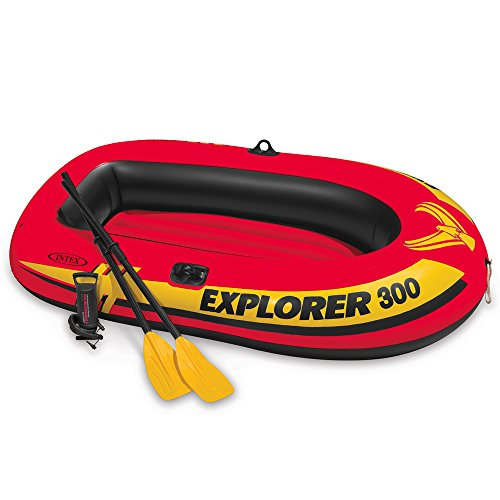Intex Explorer 300, 3-Person Inflatable Boat Set with French Oars and High (46 Inflatable)