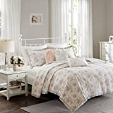 Madison Park Serendipity Twin/Twin Xl Size Quilt Bedding Set - Coral, Floral – 5 Piece Bedding Quilt Coverlets – 100% Cotton Bed Quilts Quilted Coverlet