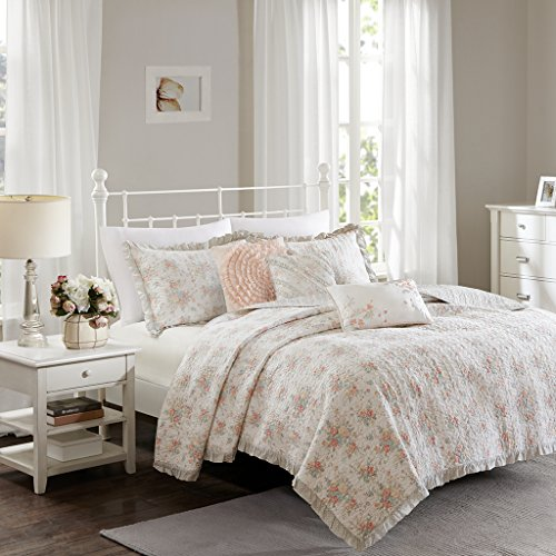 Madison Park Serendipity Full/Queen Size Quilt Bedding Set - Coral, Floral - 6 Piece Bedding Quilt Coverlets - 100% Cotton Bed Quilts Quilted Coverlet