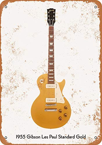 Guitar Art - Vintage Look Metal Sign Wall Décor - 1955 Gibson Les Paul Standard Gold Wall Plaque Sign 8X12 Inch