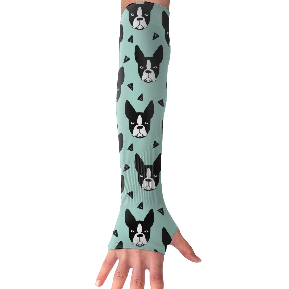 Game Life Boston Terrier French Bulldog-1 UV Sun Protective Outdoors Stretchy Cool Arm Sleeves Warmer Long Fashion Sleeve Glove