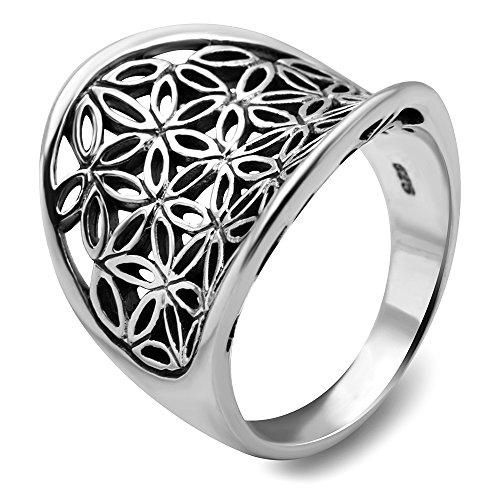 925 Sterling Silver Open Filigree Flower of Life Symbol Saddle Band Ring Size 7 - Nickel (Saddle Ring)
