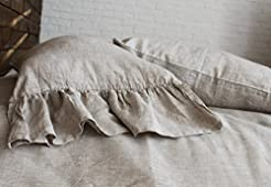 Pure Linen Pillow Sham With Mermaid Long...