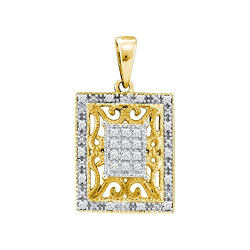 Yellow-tone Sterling Silver Womens Round Diamond Filigree Square Frame Cluster Pendant 1/8 Cttw