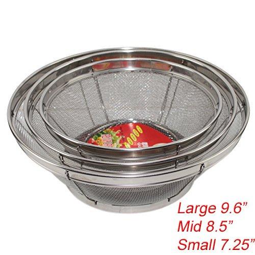 Mesh Colander Set (Set of 3- Wash Strainer Colander Reinforced Basket Stainless Steel Kitchen Sieve Strainer with Fine Mesh Net Quality( Straining, Draining,Wash Vegetable, Noodles)(B11861)~ We Pay Your Sales Tax)