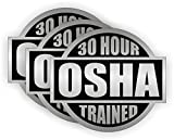 "(3 PACK) 30 Hour OSHA Trained circle vinyl Hard Hat Helmet Decal by StickerDad - size: 2"" ROUND color: SILVER/BLACK - Hard Hat, Helmet, Windows, Walls, Bumpers, Laptop, Lockers, etc."