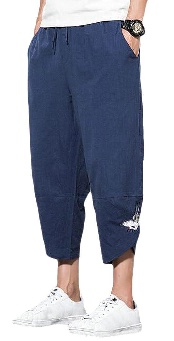 YYG Men Cotton Linen Plus Size Casual Drawstring Embroidery Cropped Harem Pants Trousers