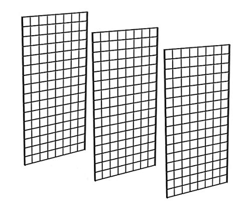Only Garment Racks #1899BLK (3PCS) Only Garment Racks Commercial Grade Gridwall Panels – Heavy Duty Grid Panel for Any Retail Display, 2' Width x 4' Height, 3 Gridwall Panels Per Carton (Black Finish)