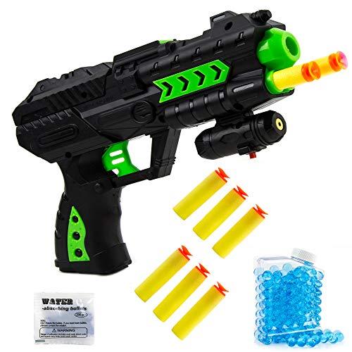Fun Water Set (Toysery Water Blaster Gun Toy for Kids - 2 in 1 Water & Soft Foam Dart Blaster Toy Gun - Water Blaster Shooting Game Set with Water Beads Foam Darts)