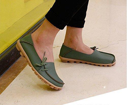 Chaussures De Conduite Pour Femmes Cuir De Vachette Décontracté Mocassins À Lacets Chaussures De Bateau Appartements Vert Armée