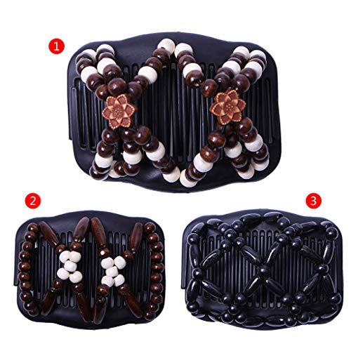 Sample9 Women Stretchy Floral EZ Magic Comb, Updo Double Hair Combs Beauty Beaded Girls Hairpin ()