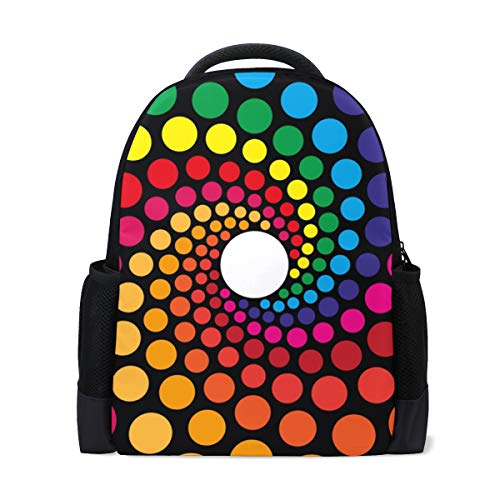 Colorful Circlet Spiral School Backpack,Polyester Bag Bookbags for Girs Boys Teens