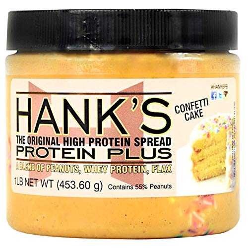 Image of Hank's Protein Plus Peanut Butter Protein Spread, Confetti Cake, Healthy Protein Nut Butter Snack, 1 lb