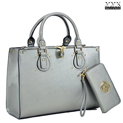 MMK Collection Fashion Pad-lock Satchel handbags with wallet~Designer Purse for Women ~Multi Pocket ~ Perfect Women Purse and wallet~ Beautiful Designer Handbag Set (01-8808B(02-168)-Pewter) ()